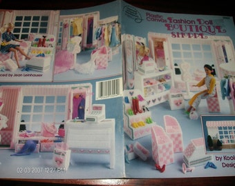 Toy Plastic Canvas Patterns Fashion Doll Boutique Shoppe American School of Needlework 3094 Kooler Pattern Leaflet
