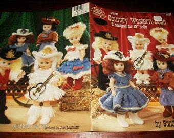 "Doll Crocheting Patterns Country Western Dolls 5 Crochet Designs for 13"" Dolls American School of Needlework 1167 Crochet Pattern Leaflet"