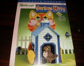 Plastic Canvas Tissue Box Cover Curious Kitty Needlecraft Shop Plastic Canvas Pattern Leaflet