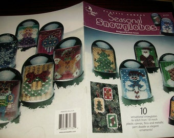 Christmas Plastic Canvas Patterns Seasonal Snowglobes Annies Attic 871731 Plastic Canvas Pattern Leaflet