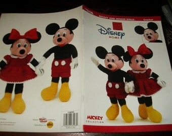 Disney Crochet Pattern Leaflet Mickey and Minnie Dolls Leisure Arts 3293 Crochet Pattern Leaflet Rare and HTF