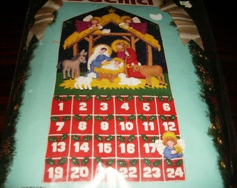 Bucilla Felt Kit Jeweled Nativity Advent Calendar 82959 Vintage Kit Complete and Ready to Stitch