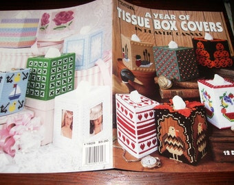 Tissue Box Cover Plastic Canvas Patterns A Year of Tissue Box Covers in Plastic Canvas Leisure Arts 1809 Plastic Canvas Pattern Leaflet
