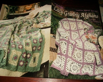 Granny Square Afghan Crocheting Pattern Lacy Granny Afghans Leisure Arts 2845 Crochet Patten Leaflet Anne Halliday