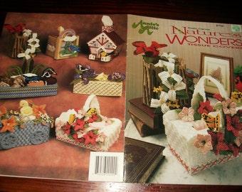Basket Plastic Canvas Patterns Nature's Wonders Tissue Boxes Covers Annie's Attic 87T29 Plastic Canvas Pattern Leaflet