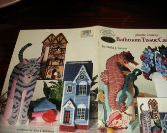 Plastic Canvas Country Bathroom Tissue Caddies American School of Needlework 3118 Pattern Leaflet