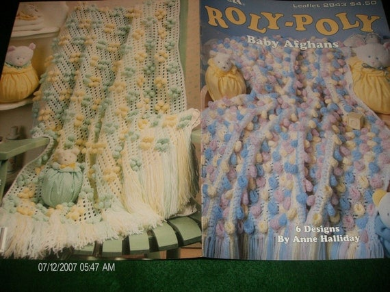 Baby Afghan Crochet Patterns Roly Poly Baby Afghans Leisure Arts 2843 Anne Halliday Crocheting Pattern Leaflet