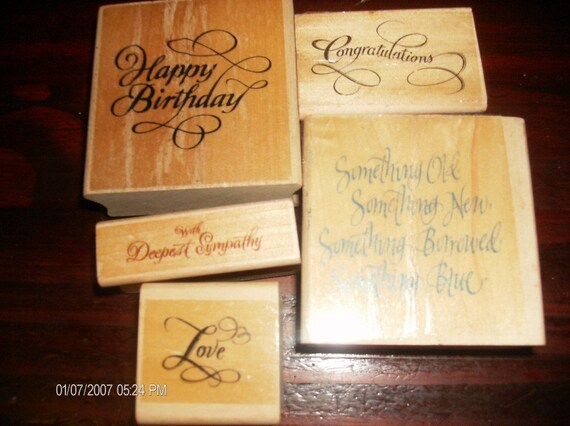 Mixed Lot of 5 Wood Mounted Rubber Stamps for Card Making