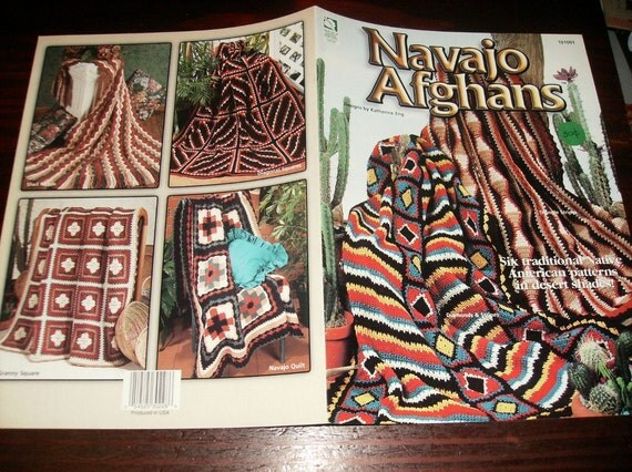 Afghan Crochet Pattern Leaflet Navajo Afghans House of White Birches ...