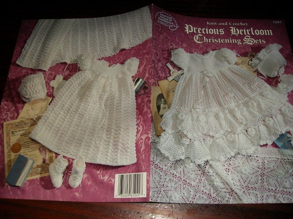 Knit and Crochet Precious Heirloom Christening Sets American School of Needlework 1241 Knit and Crochet Pattern Leaflet