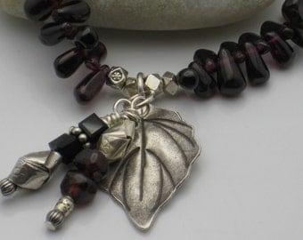 Garnet and Silver Leaf Bracelet
