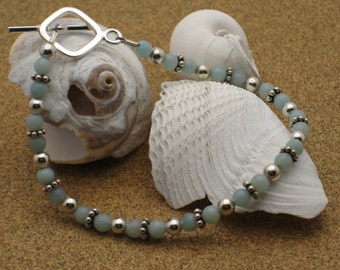 Simple Amazonite and Silver Bracelet