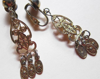 Vintage Mediterranean-influenced Goldtoned Dangle Earrings