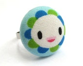 Flower Button Ring - Adjustable- Happy Flower Fabric Covered Button