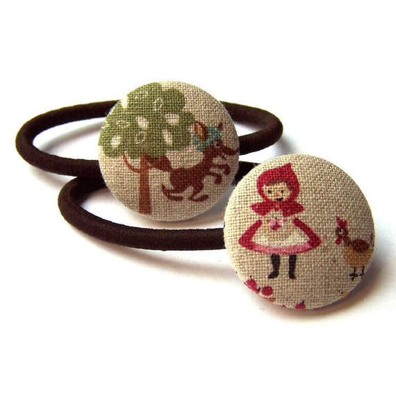 Little Red Riding Hood and Wolf Ponytail Elastics - Fabric Covered Buttons