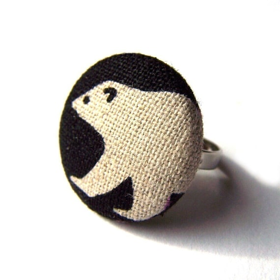 Land of Ice and Snow - Adjustable Ring with a Polar Bear Fabric Covered Button