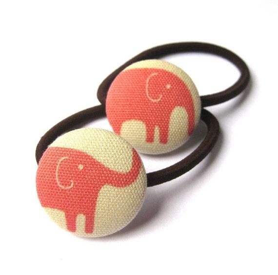 Pink Elephant Ponytail Elastics, Handmade with Fabric Covered Buttons- Elephant Parade
