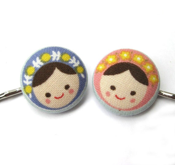 Handmade Russian Doll Bobby Pins, made with Fabric Covered Buttons- Dolly Dear