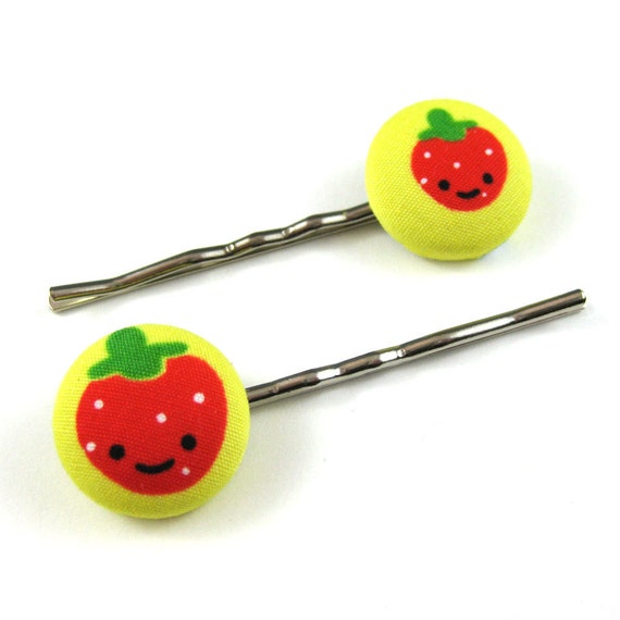 Strawberry Bobby Pins - Strawberry Fabric Covered Buttons - Fruit Salad
