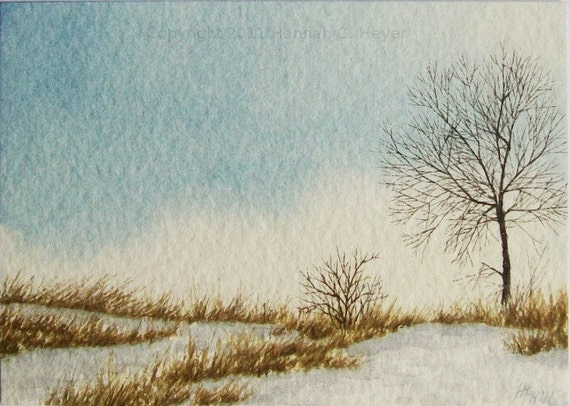 Chilly Evening, original watercolour ACEO