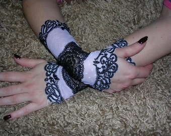 The PIRATE WIFE black-white victorian cuffs victorian gloves gothic cuffs goth  lolita gloves twilight vampire steam