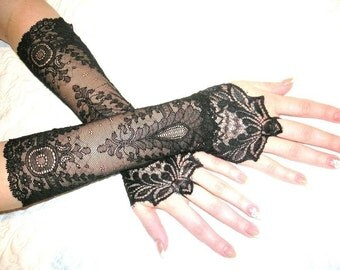 The NEW MOON black french lace cuffs black lace cuffs goth cuffs Victorian cuffs Gothic cuffs gothic gloves goth