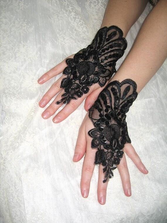 Mysterious bellydance organza black lace cuffs  goth Lolita cuffs Victorian cuffs victorian gloves gothic gloves