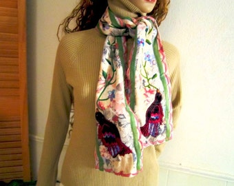Scarf Embroidery Scarf Hand made scarf  Embroidery Long floral