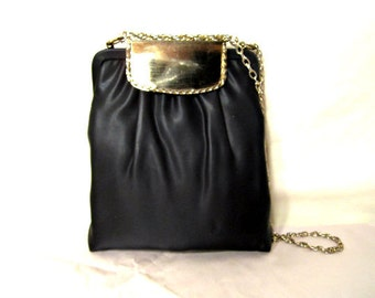 Vintage bag, Black Satin Purse Twiggy style Pouch