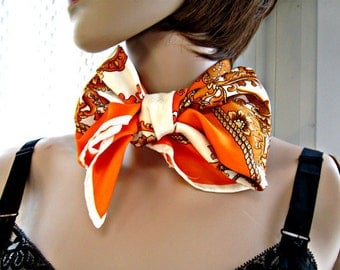 Tangerine Scarf  Vintage 1980s scarf. Womens accessories. Tangerine, Bronze and Cream. Made in Japan.