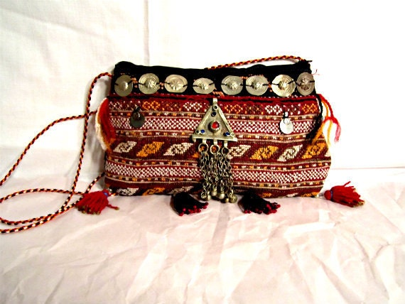 1960s Handmade Purse / Clutch. Ethnic bag with antique Kuchi pendants, coins, and tassels.