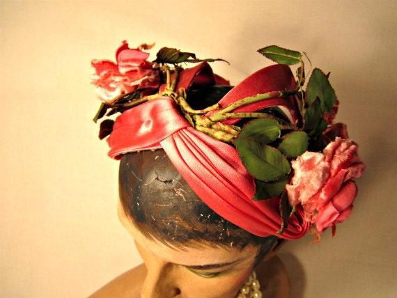 1930s Hat / Topper Fascinator Hat / Millinery flowers Bonnet Headband.