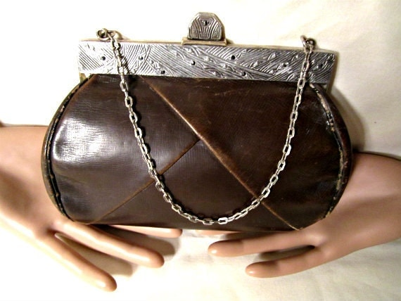 1920s Art Deco Leather Clutch Purse. Ornate Marcasite Frame with Black Rhinestones. Chain Handle.