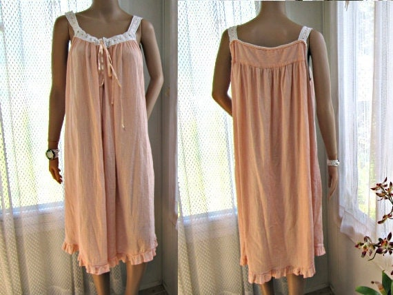 Crinkle Cotton Nightgown / Slip Dress. Fine  Eyelet Lace. Size M L