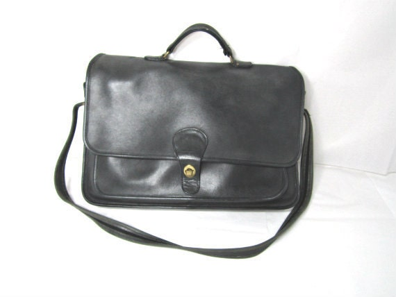 Coach Leather Briefcase / Lawyers Bag /  Black Leather.