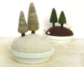 Snowy Pines - Frosty Fir Tree Felted Miniature Pincushion Home Decor Scene Made to Order