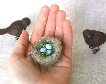 Bird Nest with Eggs Ornament  Felted Miniature - Natural moss and wool Nature Decor Made To Order