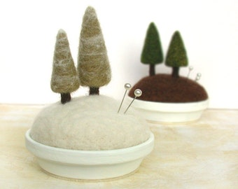 Pincushion Pin Cushion Snowy Pines - Frosty Fir Trees, Snowy Scene, Winter Trees, Felted Miniature Sewing Gift  Made to Order