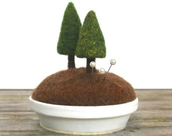 Evergreen Pin Cushion - Woodland Fir Tree Rustic Home Decor Pincushion Nature Scene Made to Order