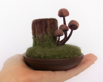 Sewing Gift Woodland Mushrooms on Tree Stump Wool Felted Mycology Sculpture Pincushion Made to Order
