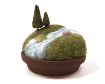 Felted Miniature Pines on the River Sculpture - Original Needle Felted Landscape Scene Made To Order Woodland Themed Nature Display