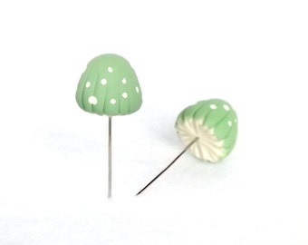 Mint Green Mushrooms Set of (2) Sewing Pins, Terrarium Decor Miniatures Made To Order