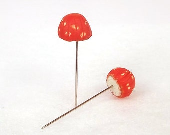 Deep Orange Mushrooms Set of (2)  - Miniature Terrarium Decor Supplies, Made To Order Decorative Pins