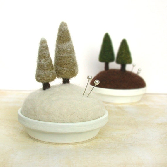 Snowy Pines - Frosty Fir Tree Pincushion Home Decor Scene Made to Order