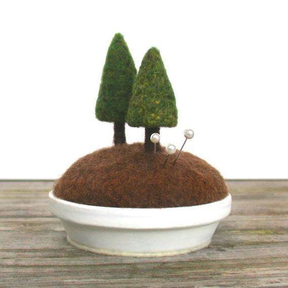 Evergreen Pin Cushion - Woodland Fir Tree Rustic Home Decor Pincushion Nature Scene Made to Order