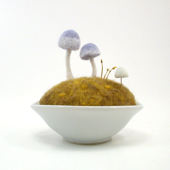 Blue Mushrooms on Spring Moss Woodland Scene - Limited Edition Made To Order