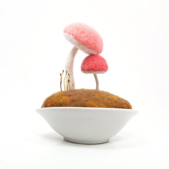 Mushroom Nursery Home Decor Toadstool Pincushion Made to Order -New Mom- Pink Baby Girl