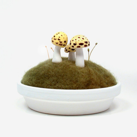 Yellow Sculpted Mushrooms in Moss - Nature Decor Mycology Pincushion Made To Order