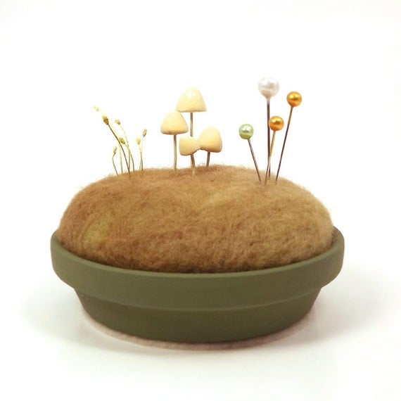 Nature Decor Pincushion - Miniature Sculpted Mushrooms in a Mossy Meadow Display