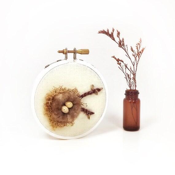 Miniature Bird Nest Wall Art Ornament Cream Eggs - 3 inch Nature Wool Silk Moss on Linen